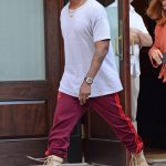 Kanye West  In  Adidas Yeey Season 4 Calabasas Sweatpants & Yeezy Military Boots