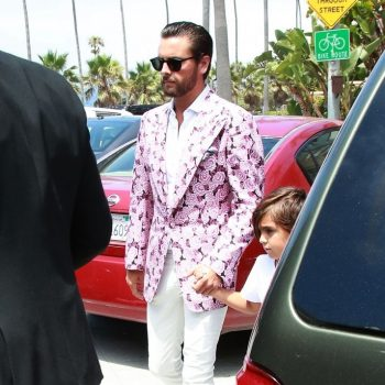 Scott-Disick-wears-Tom-Ford-Silk-Pink-Floral-Brocade-Jacket-at-Del-Mar-Racetrack
