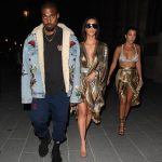 Kanye West  In  Gucci Jacket, adidas Yeezy Season  4 Sneakers at Balmain Afterparty
