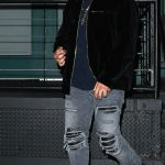 The Weeknd  In  Amiri Jeans & Rick Owens Sneakers Celebrating Girlfriend's Birthday