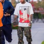 Tyga Rocks  In 3.1 Phillip Lim T-shirt,  & adidas x Palace Pro Sneakers
