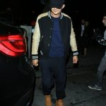 Orlando Bloom In Maison Margiela varsity jacket – Out In LA