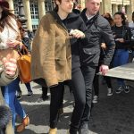 Harry  Styles  In Saint Laurent Shearling Coat  & Gucci Hoodie