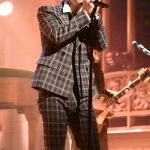 Harry Styles  In Gucci Performing on 'Saturday Night Live' In New York