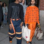 ASAP Rocky In Vlone Shirt , Air Jordan Sneakers, & Dickie Pants