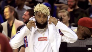 Odell-Beckham-Jr-Vetements-Champion-hoodie-sweatpants-Kanye-West-LV-sneakers