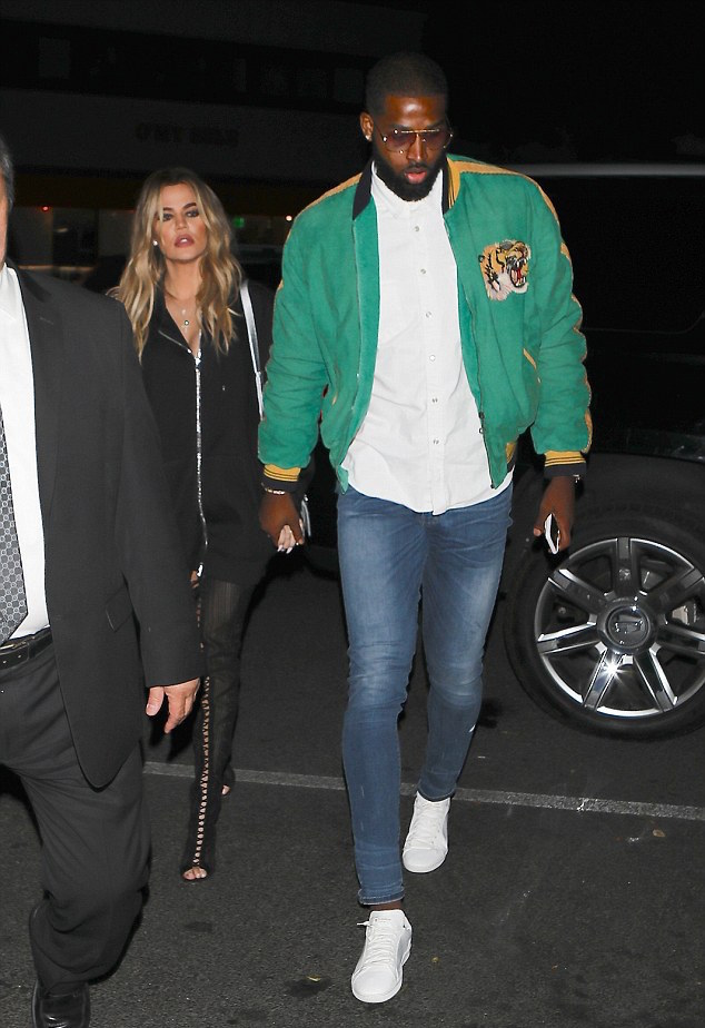 Tristan Thompson In Gucci Bomber Jacket   Saint Laurent Sneakers – Out With  Khloe 46ed9406d
