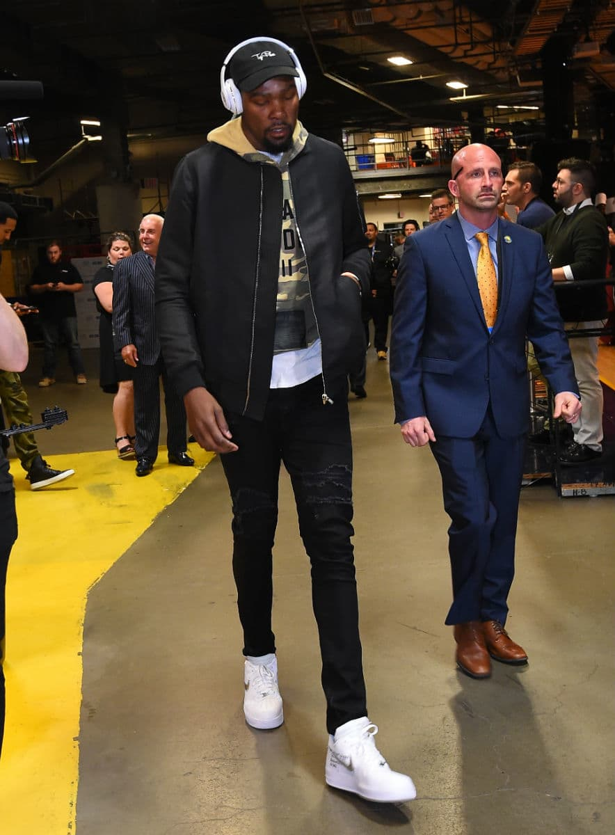 official photos hot new products 100% quality Kevin Durant Debuts Off-White X Nike Air Force 1 Sneakers ...