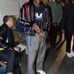 Asap Rocky   In Rubchinskiy Tee & Prada  Pants –  Raf Simons Fall 2017 NY Fashion Week Show