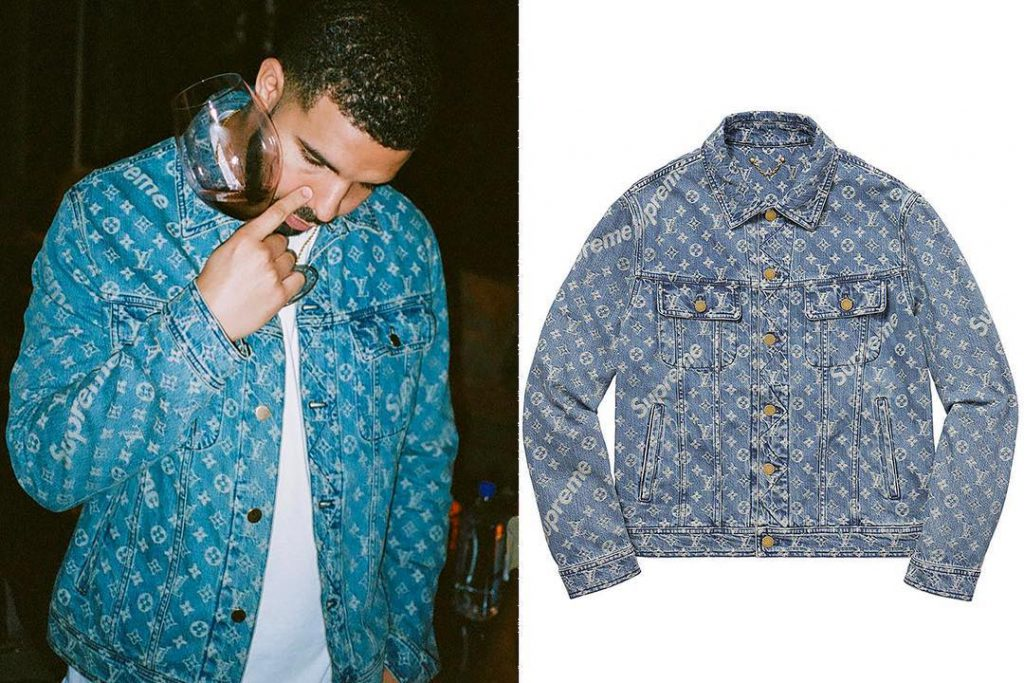 drake in louis vuitton x supreme denim jacket sizzle man. Black Bedroom Furniture Sets. Home Design Ideas