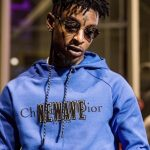 21 Savage  In  Dior Homme Hoodie At Album Release Party