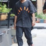 A$AP Rocky In  Vintage Nike Air Jordan Baseball Jersey  Out In New York
