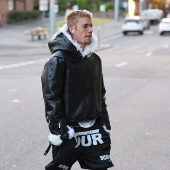 Justin-Bieber-Saint-Laurent-jacket-tour-shorts-Nike-sneakers-3
