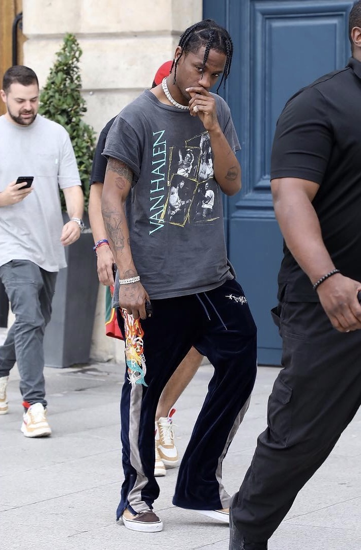 Travis-Scott-Van-Halen-tee-Doublet-track-pants-JJJJound-Vans-sneakers