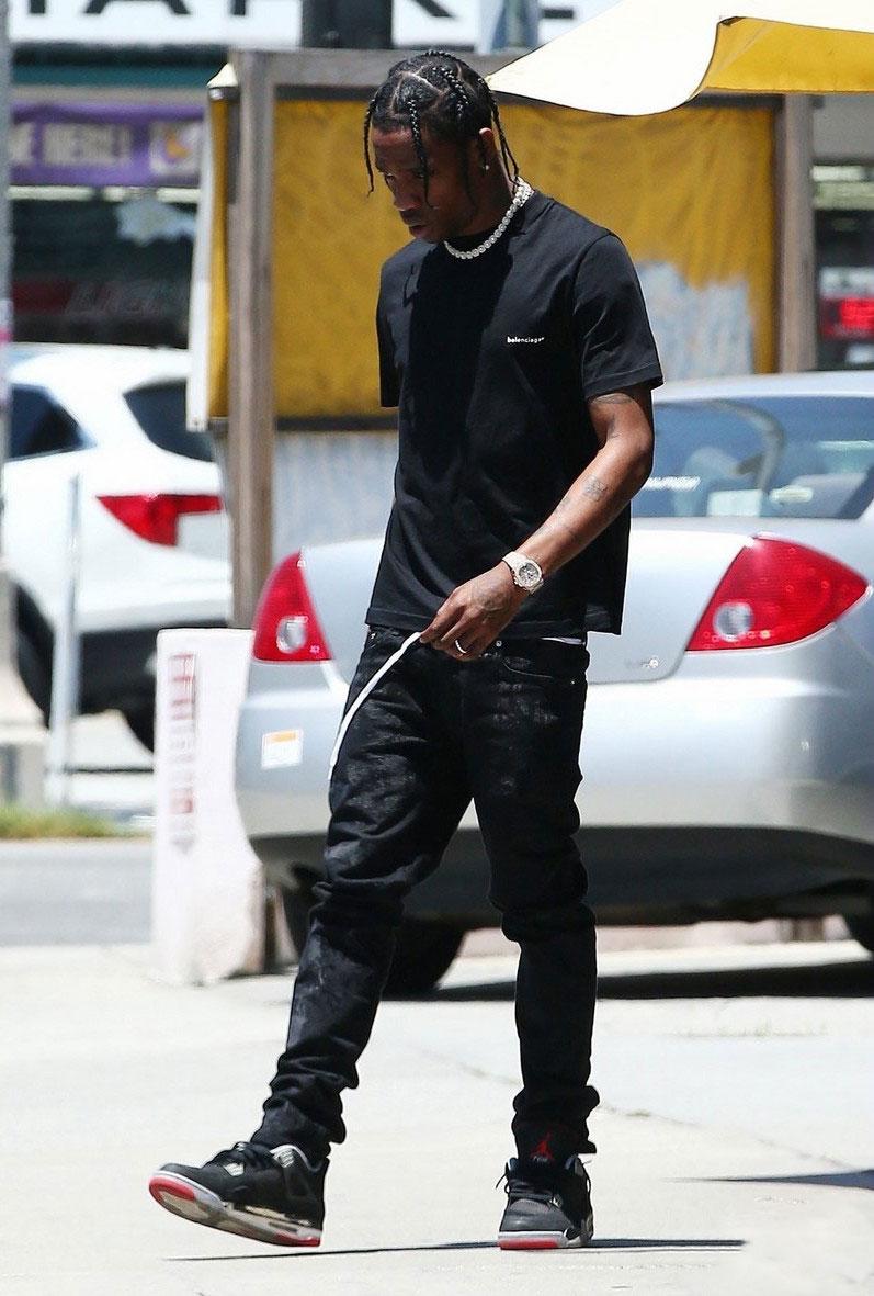 Travis Scott In Balenciaga & Nike Air Jordan 4 Sneakers ...